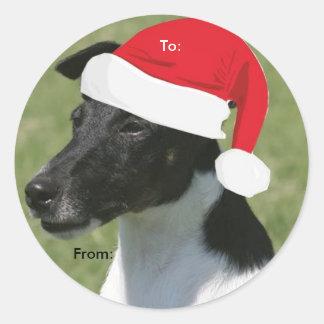 Fox terrier liso a/desde los pegatinas del navidad pegatina redonda