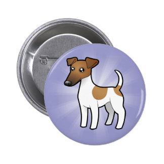 Fox terrier liso del dibujo animado pin redondo 5 cm