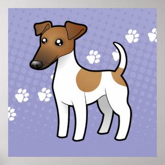 Fox terrier liso del dibujo animado póster