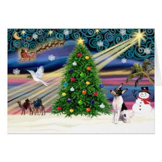 Fox terrier mágico del juguete del navidad tarjeta de felicitación