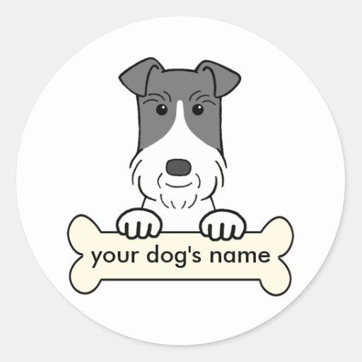 Fox terrier personalizado del alambre pegatina redonda