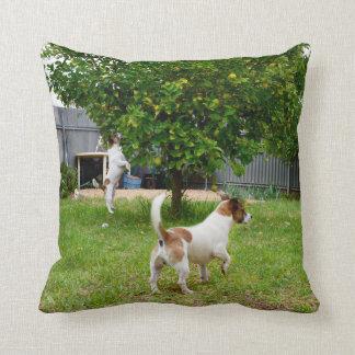 Fox_Terrier_Playtime_Lounge_Throw_Cushion Throw Pillow
