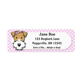 Fox terrier rosado del alambre de la guinga de etiqueta de remitente