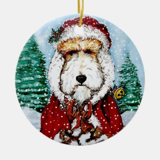 Fox Terrier Santa Ceramic Ornament