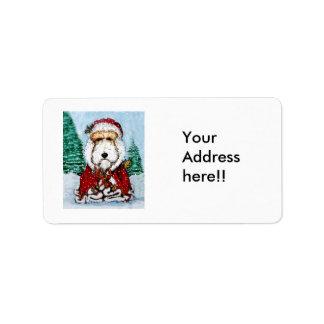 Fox terrier Santa del alambre Etiqueta De Dirección