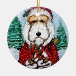 Fox terrier Santa del alambre Ornamentos De Reyes