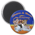 Fox Terrier Share A Beer 2 Inch Round Magnet