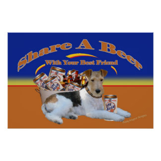 Fox Terrier Share A Beer With Best Friend Poster