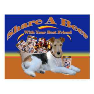 Fox Terrier Share A Beer With Your Best Friend Postcard