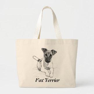 Fox terrier valiente bolsa tela grande