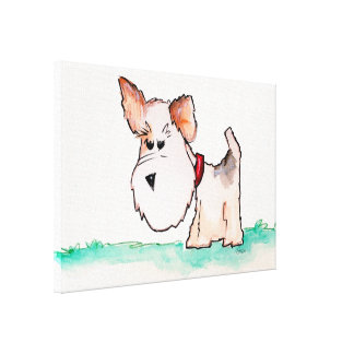 Fox Terrier Watercolor Canvas Print