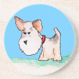 Fox Terrier Watercolor CHANGE BACKGROUND COLOR Coaster