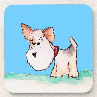 Fox Terrier Watercolor CHANGE BACKGROUND COLOR Drink Coaster