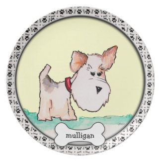 Fox Terrier Watercolor CHANGE BACKGROUND COLOR Party Plate