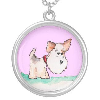 Fox Terrier Watercolor CHANGE BACKGROUND COLOR Round Pendant Necklace