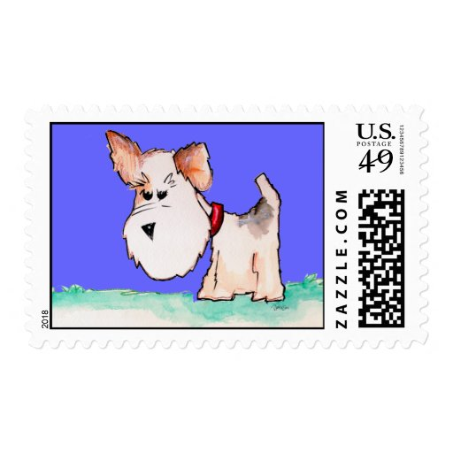 Fox Terrier Watercolor Postage Stamp