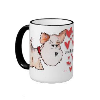 Fox Terrier Watercolor Ringer Coffee Mug
