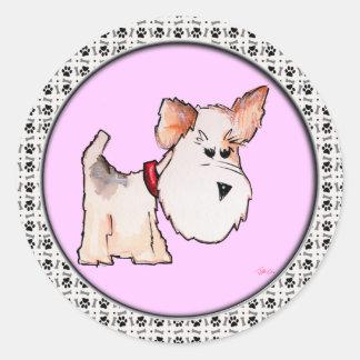 Fox Terrier Watercolor Round Sticker