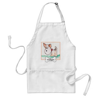 Fox Terrier Watercolor with Name Apron