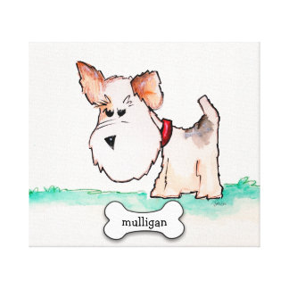Fox Terrier Watercolor with Name Canvas Print