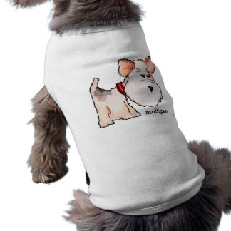 Fox Terrier Watercolor with Name Doggie Tee Shirt