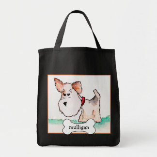Fox Terrier Watercolor with Name Grocery Tote Bag