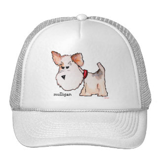 Fox Terrier Watercolor with Name Mesh Hat