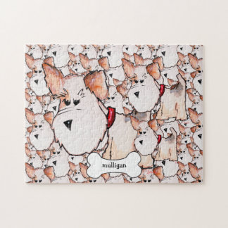 Fox Terrier Watercolor with Name Jigsaw Puzzle