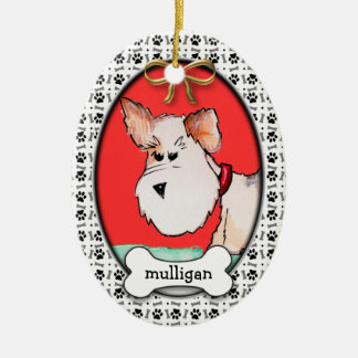 Fox Terrier Watercolor with Name Christmas Tree Ornaments