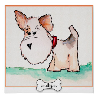 Fox Terrier Watercolor with Name Poster
