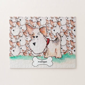 Fox Terrier Watercolor with Name Puzzles
