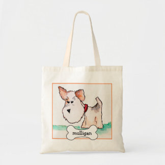 Fox Terrier Watercolor with Name Tote Bag