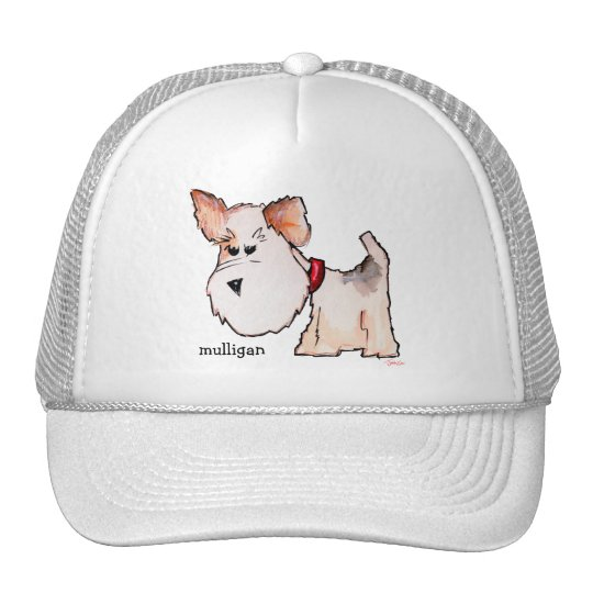 Fox Terrier Watercolor with Name Trucker Hat