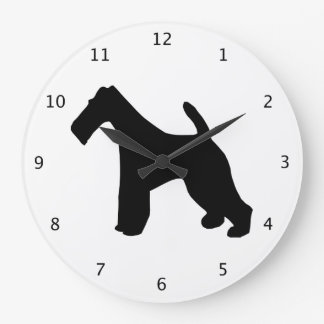 Fox Terrier wire-haired dog black silhouette Large Clock