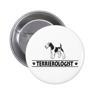Fox terrier Wirehaired chistoso Pin Redondo 5 Cm