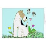 Fox terrier y mariposas del alambre tarjeta pequeña