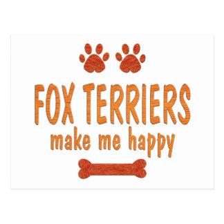 Fox Terriers Make Me Happy Postcard