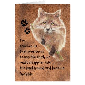 Fox, tótem animal, guía del alcohol, símbolo tarjeta de felicitación