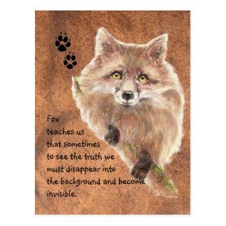 Fox, tótem animal, guía del alcohol, símbolo tarjeta postal