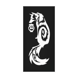Fox tribal de Kitsune con la linterna del alcohol Impresiones En Lienzo Estiradas