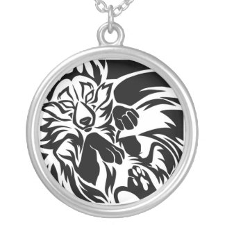 Fox tribal tattoo round pendant necklace