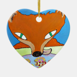 Fox trying to steal some foxy biscuits ceramic ornament