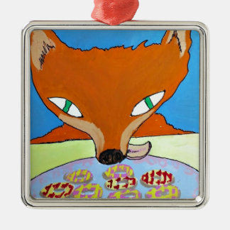 Fox trying to steal some foxy biscuits metal ornament