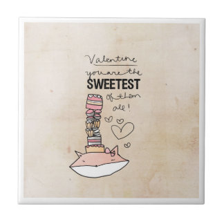 Fox Valentine | You Are The Sweetest Of Them All Small Square Tile