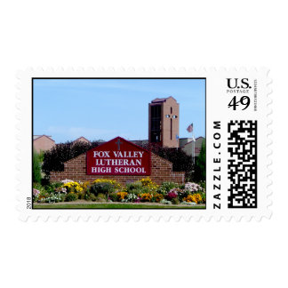 Fox Valley Lutheran Sign and Flowers Postage Stamps