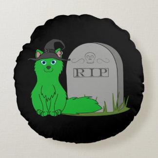 Fox verde con la piedra del sepulcro del RASGÓN Cojín Redondo