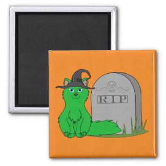Fox verde con la piedra del sepulcro del RASGÓN Imán Cuadrado