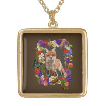 Fox & Victorian Flowers Necklace & Pendant