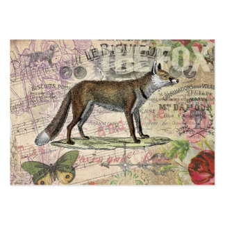 Fox Vintage Animal Collage Large Business Cards (Pack Of 100)