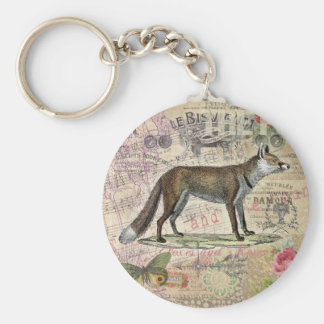 Fox Vintage Animal Collage Keychains